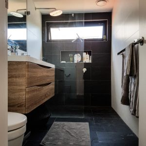 Ensuite with modern shower, vanity and toilet