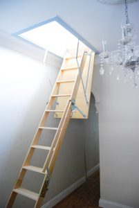 Wooden fold down attic ladder