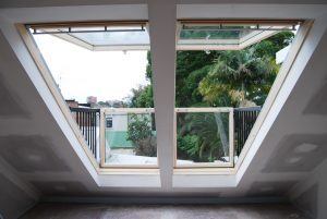 Velux Skylights open out onto balcony